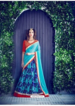 Sky Blue Banglori Silk Printed Lace Worked Designer Lehenga Choli