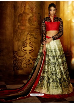 Gold And Red Banglori Silk Printed Lace Worked Designer Lehenga Choli