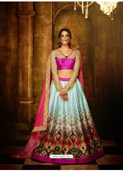 Rani And Sky Banglori Silk Printed Lace Worked Designer Lehenga Choli