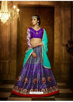 Violet Banglori Silk Printed Lace Worked Designer Lehenga Choli