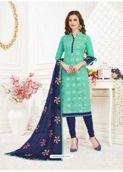 Mint And Navy Banarasi Jacquard Thread Worked Churidar Suit