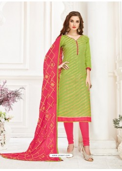 Green And Rani Banarasi Jacquard Thread Worked Churidar Suit