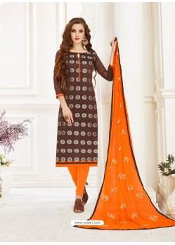 Coffee And Orange Banarasi Jacquard Thread Worked Churidar Suit