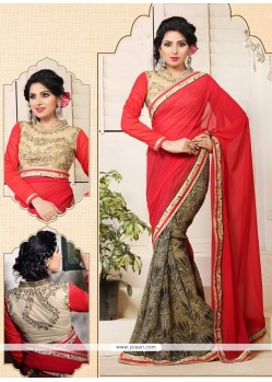 Graceful Red Georgette Casual Saree