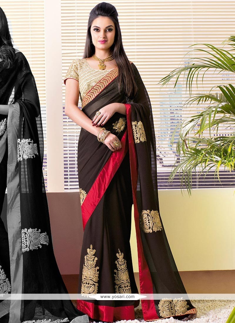 Brown Zari Enhanced Faux Chiffon Saree