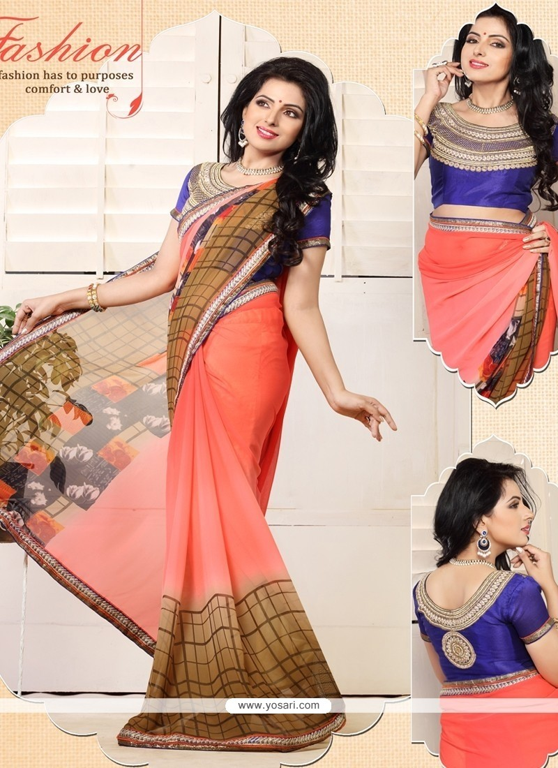 Charming Red Shaded Georgette Casual Saree