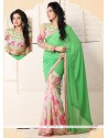 White And Green Georgette Printed Casual Saree