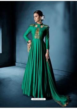 Jade Green Soft Tapeta Silk Heavy Embroidered Floor Length Suit
