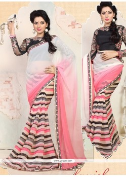 White And Pink Shaded Chiffon Casual Saree