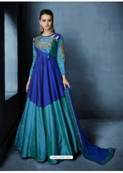 Teal Blue Soft Tapeta Silk Heavy Embroidered Floor Length Suit