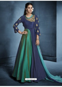 Teal And Navy Morvi Silk Heavy Embroidered Floor Length Suit