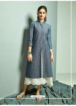 Navy Blue And White Cambric Cotton Printed Readymade Kurti