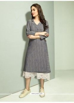 Dull Grey And White Cambric Cotton Printed Readymade Kurti