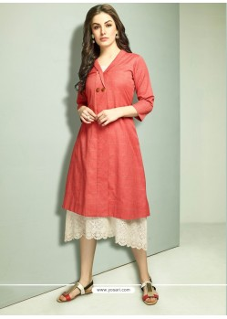 Red And Off White Cambric Cotton Printed Readymade Kurti