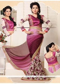 Wine Shaded Satin Chiffon Casual Saree