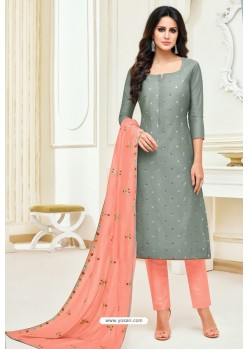 Grey And Peach Maslin Silk Embroidered Straight Suit