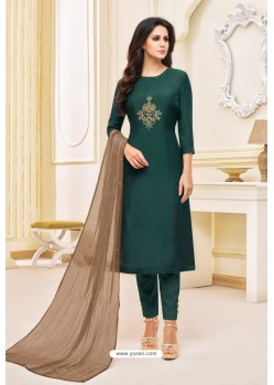 Teal Green Maslin Silk Embroidered Straight Suit
