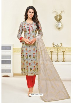 Grey And Red Maslin Silk Embroidered Straight Suit
