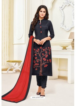 Black Maslin Silk Embroidered Straight Suit