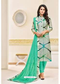 Jade Green And Multi Coloured Maslin Silk Embroidered Straight Suit