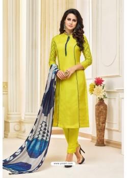 Lemon Maslin Silk Embroidered Straight Suit