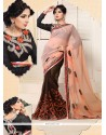 Peach And Brown Printed Chiffon Saree