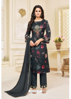Carbon Black Maslin Silk Embroidered Straight Suit