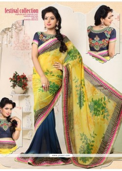Yellow And Blue Georgette Printed Casual Saree
