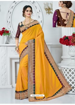 Yellow Upada Silk Embroidered Party Wear Saree