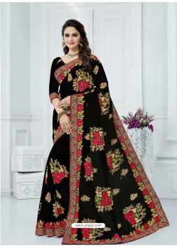 Black Georgette Embroidered Party Wear Saree