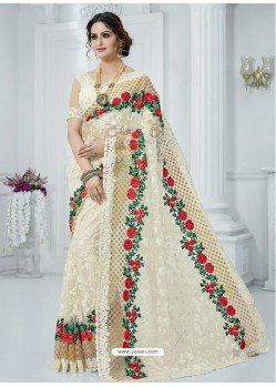Off White Soft Net Embroidered Party Wear Saree