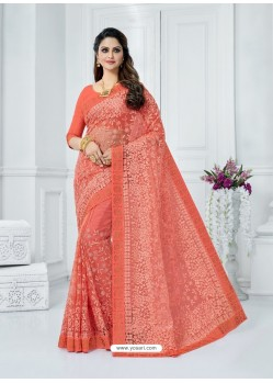Peach Soft Net Embroidered Party Wear Saree