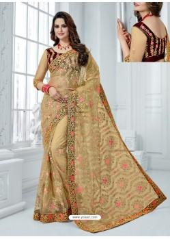Beige Soft Net Embroidered Party Wear Saree