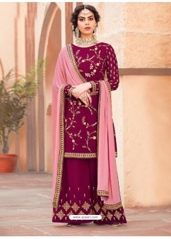 Purple Georgette Heavy Embroidered Palazzo Suit