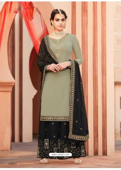 Taupe And Black Georgette Heavy Embroidered Palazzo Suit