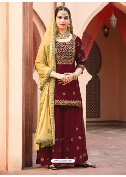 Maroon Georgette Heavy Embroidered Palazzo Suit