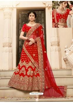 Red Pure Heavy Silk Heavy Embroidered Wedding Lehenga Choli