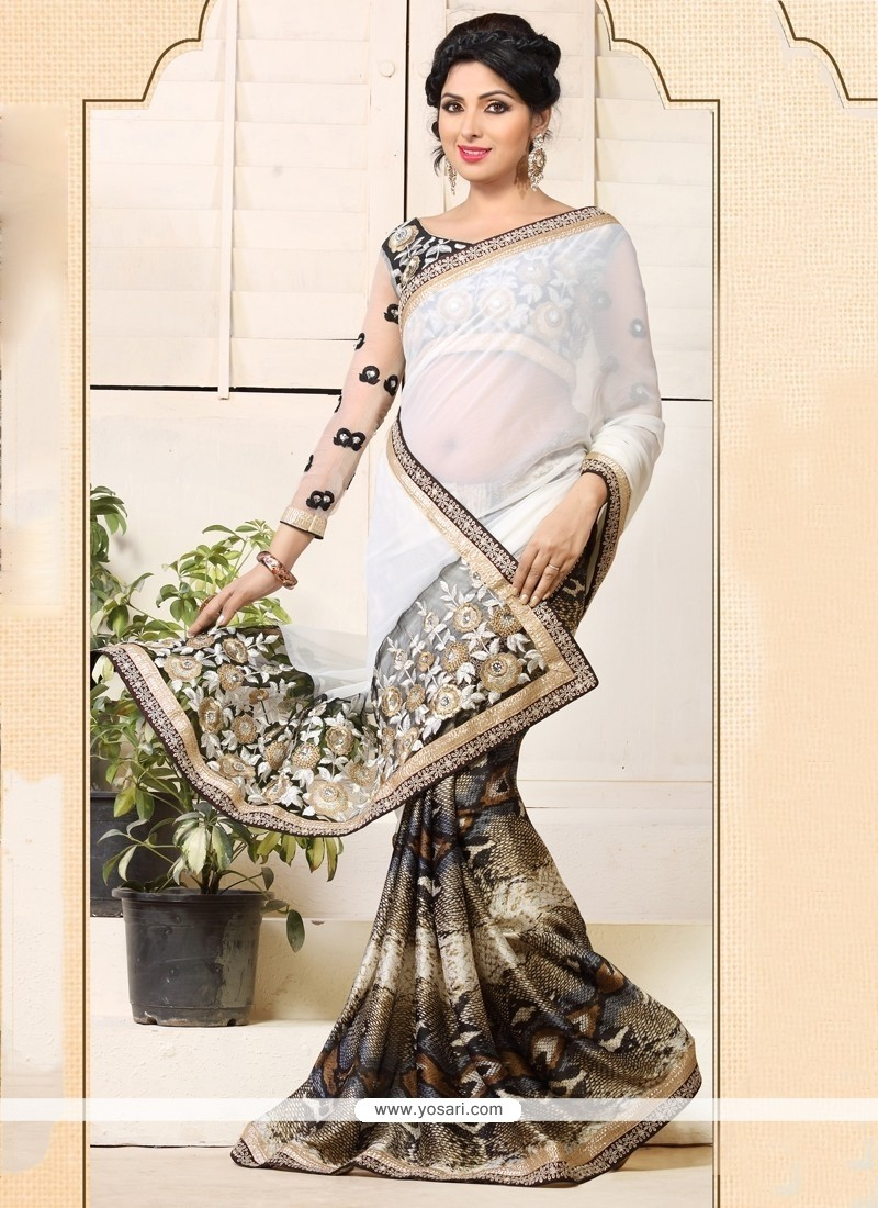 White And Black Chiffon Casual Saree