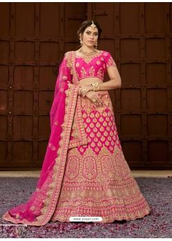 Hot Pink Pure Heavy Silk Heavy Embroidered Wedding Lehenga Choli