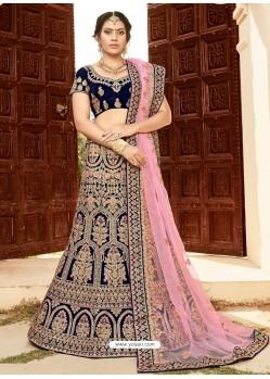 Navy Blue Soft Velvet Heavy Embroidered Wedding Lehenga Choli