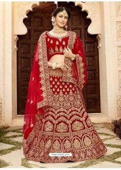 Maroon Soft Velvet Heavy Embroidered Wedding Lehenga Choli