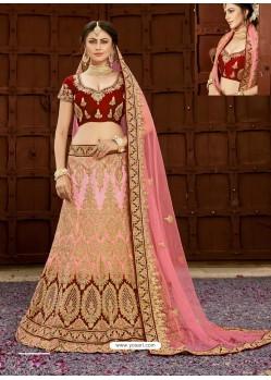 Maroon And Pink Pure Heavy Silk Heavy Embroidered Wedding Lehenga Choli