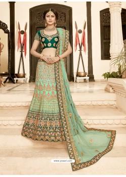 Dark And Sea Green Pure Heavy Silk Heavy Embroidered Wedding Lehenga Choli