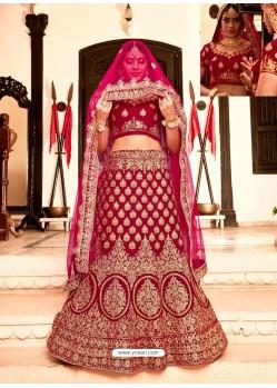 Wine Soft Velvet Heavy Embroidered Wedding Lehenga Choli