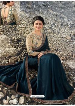 Teal Blue Soft Silk Stone Worked Designer Saree
