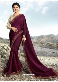 Deep Wine Soft Silk Stone Worked Designer Saree