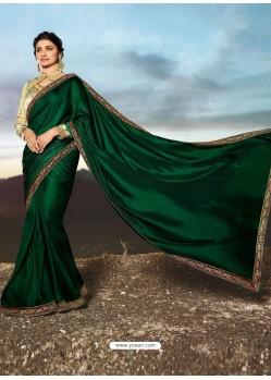 Dark Green Soft Silk Stone Worked Designer Saree