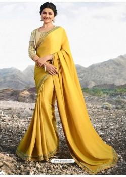 Yellow Soft Silk Stone Worked Designer Saree