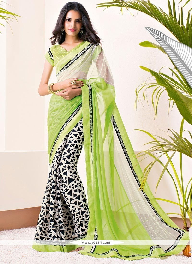 Off White And Green Shaded Printed Saree