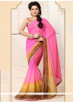 Refreshing Pink Chiffon Casual Saree